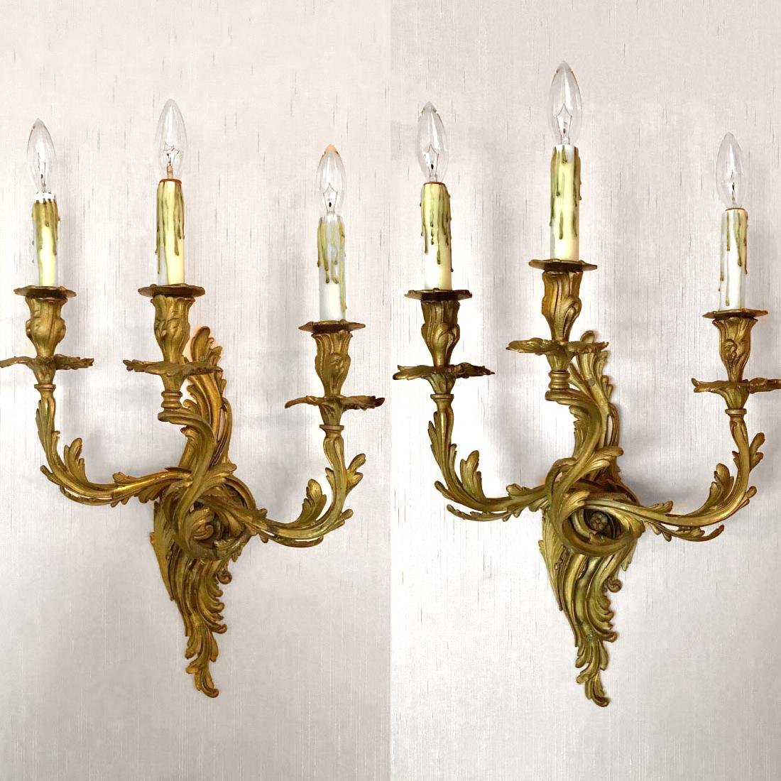 Pair of Bronze Scroll Design Three-Light Rococo Style