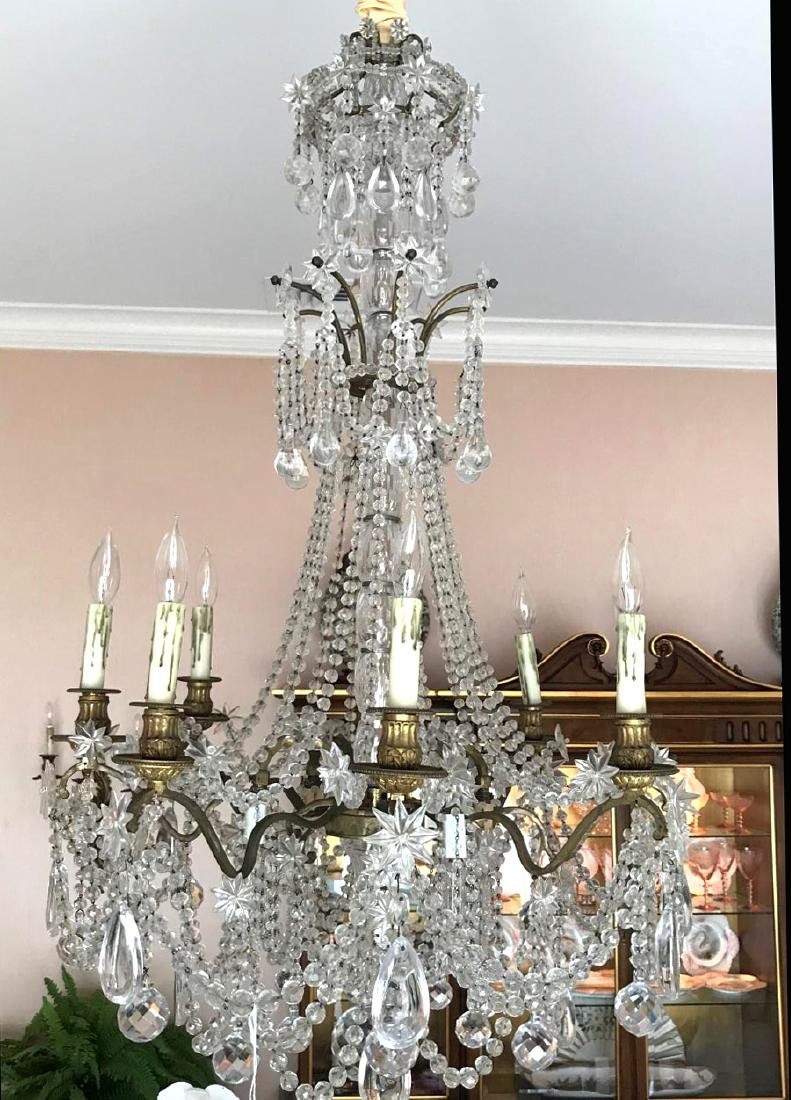 French Twelve-Light Gilt Bronze & Crystal Chandelier.