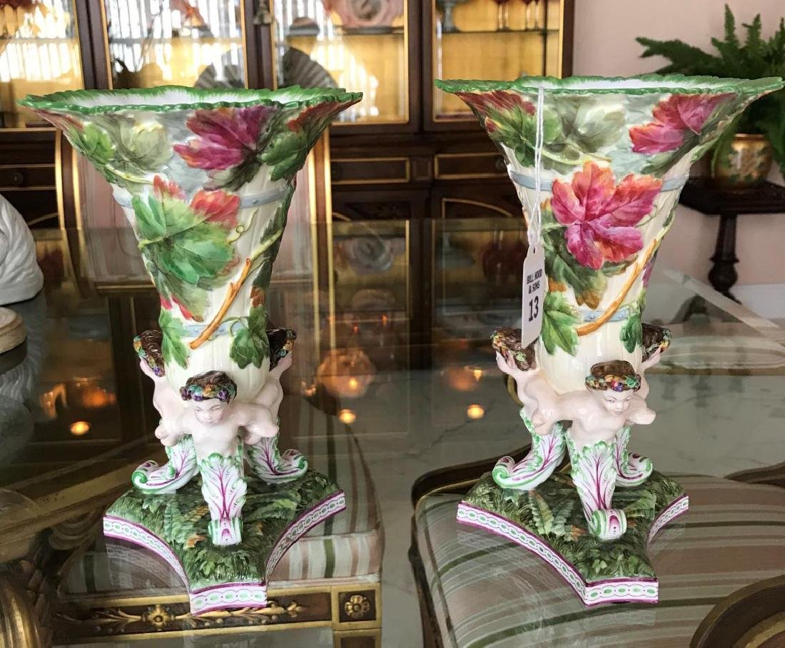 Pair of Copelands Spode Porcelain Vases - Triangular
