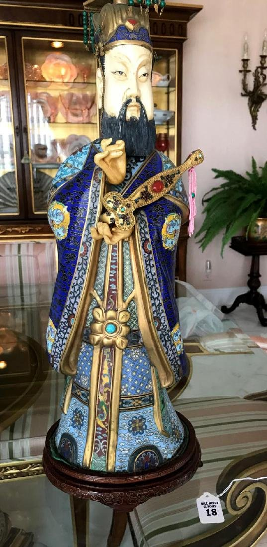 Chinese Cloisonné & Bone Emperor Statue on a custom