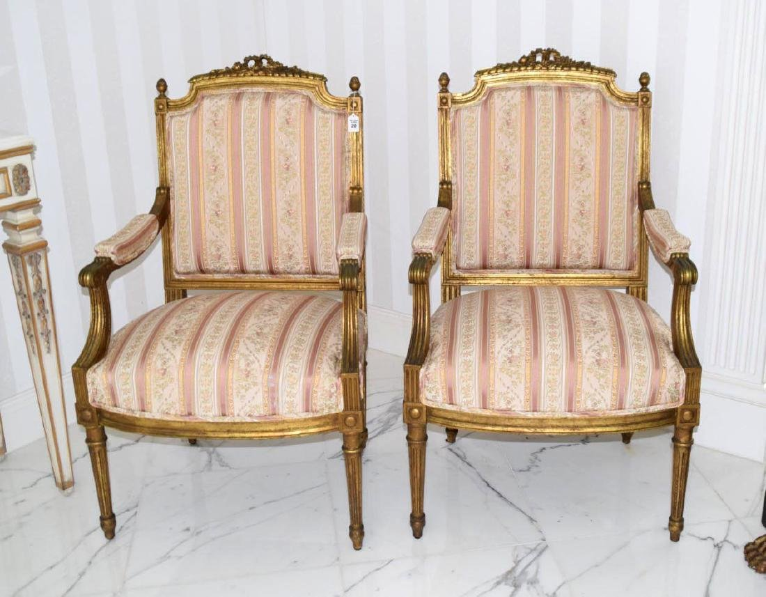 Pair of French Fauteuil Louis XV-style Gilt Wood