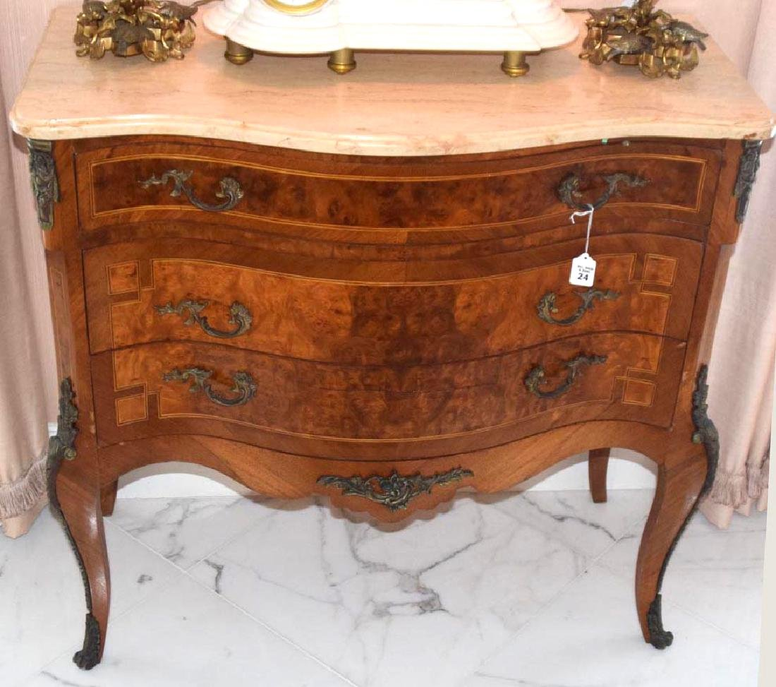 French Three-Drawer Serpentine Front Chest with Marble
