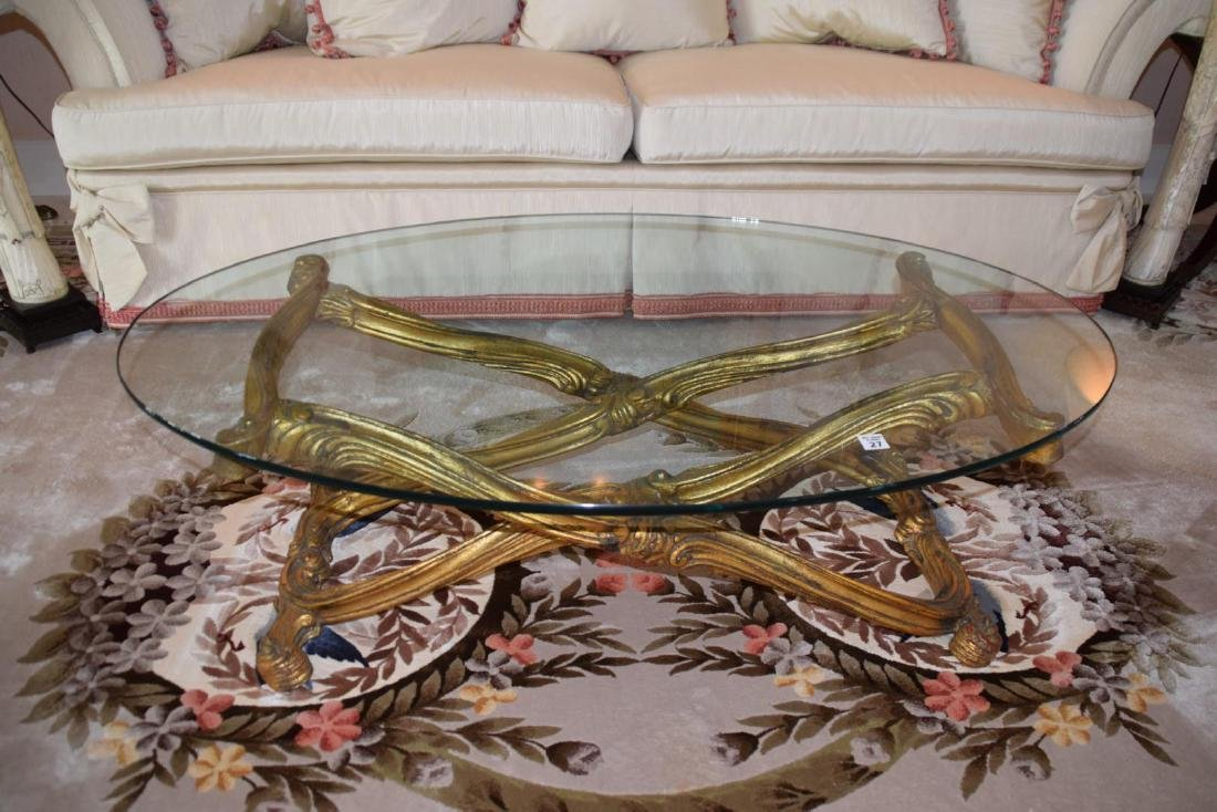 Carved Gilt Wood & Glass Top Coffee Table - Carved gilt