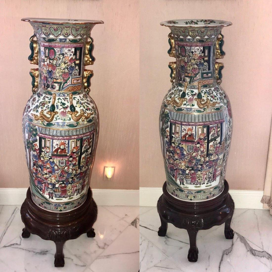 Pair of Large Chinese Rose Medallion-Style Vases -
