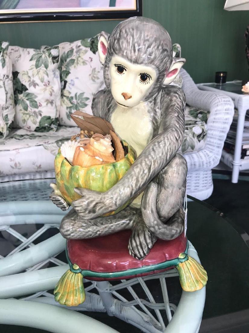 Hand-Painted Italian Pottery Monkey - Grey monkey