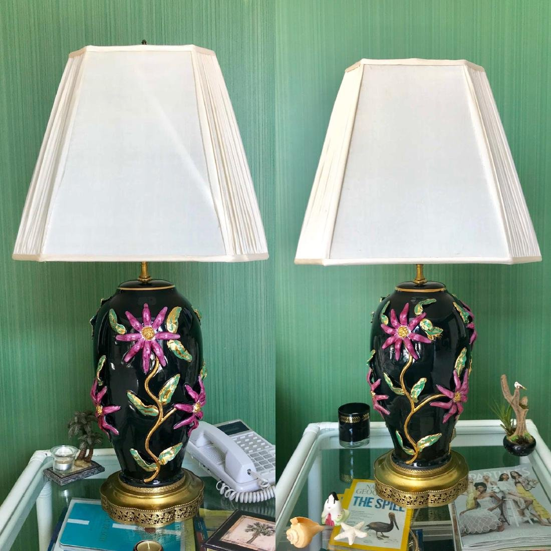 Pair of Capodimonte Porcelain Vases -Black background