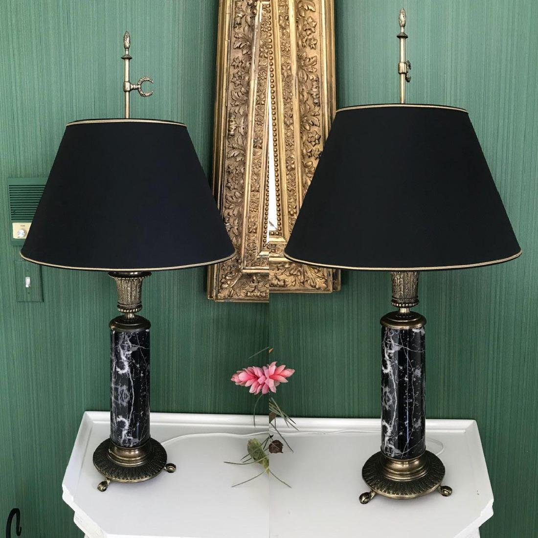 Pair of Brass & Marble Lamps - Black marble with white