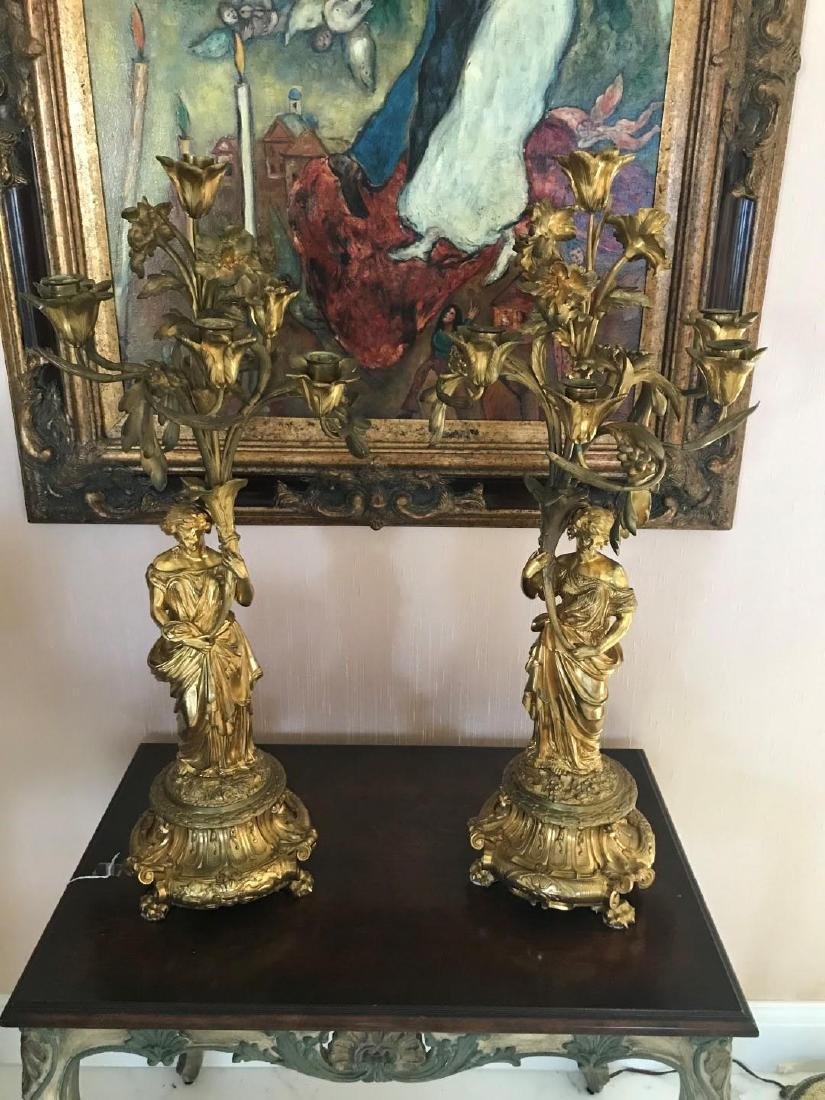 Pair of 19th Century Gilt Bronze Six-Light Candelabras