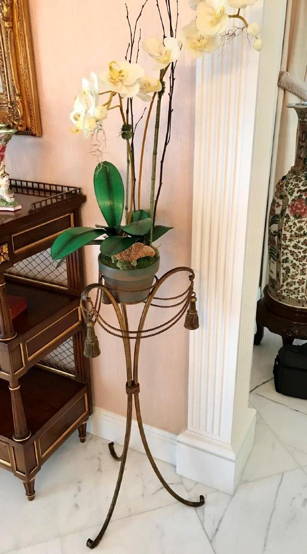 French Gilt Metal Tassel-Form Plant Stand with Silk