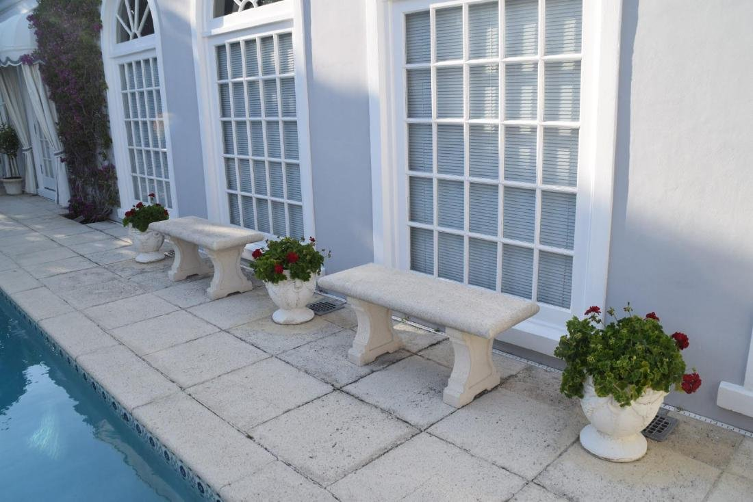 Pair of Cast Stone Benches Condition: Minor normal