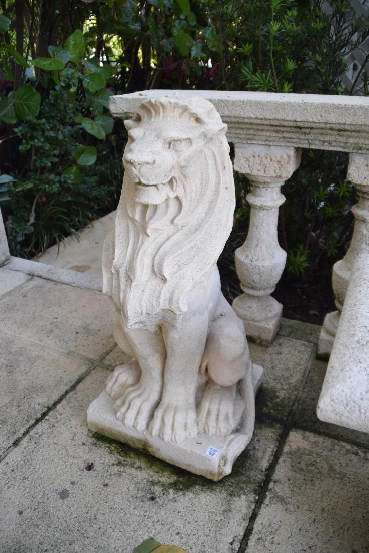 Cast Stone Lion Figure Condition: Good, with minor