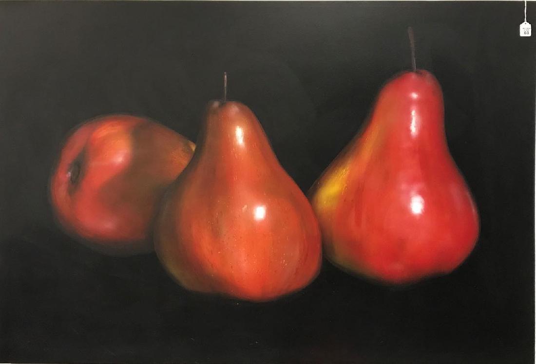 Tom Seghi (AMERICAN, 1942) oil on canvas, 3 PEARS,