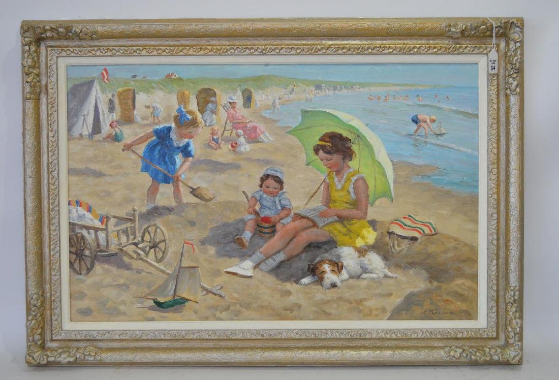 Anton Karssen (Dutch, b. 1945) oil on canvas, BEACH