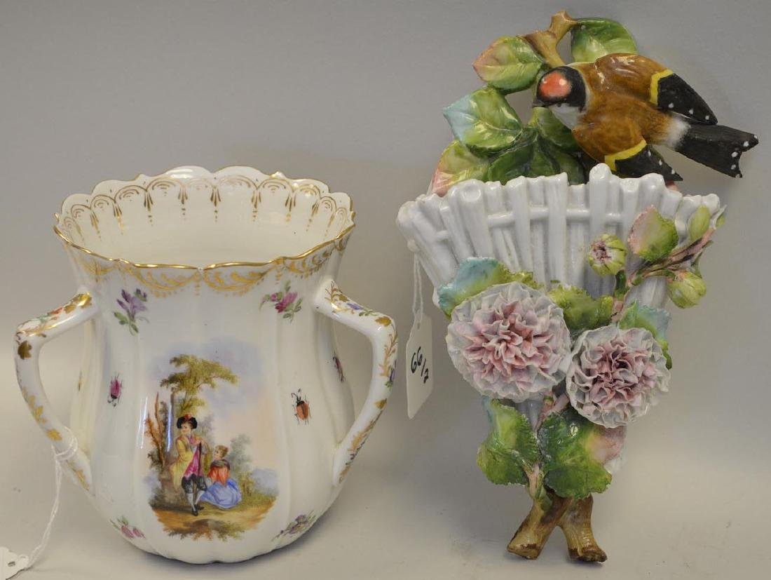 Two Pieces of German Porcelain - One Loving Cup with