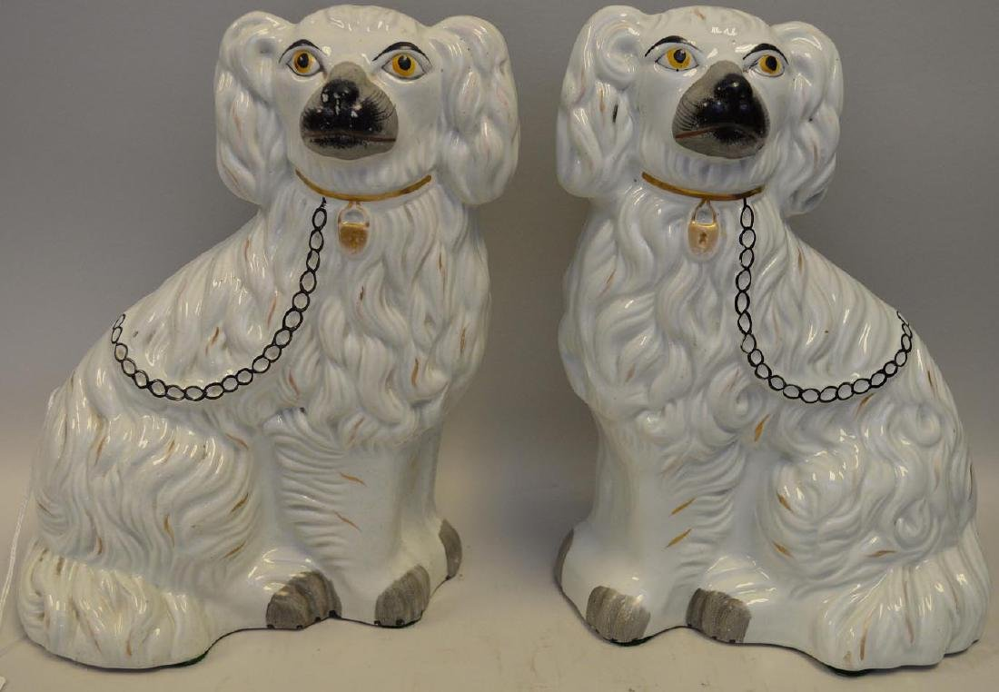 Pair of Antique English Porcelain Staffordshire Dogs.