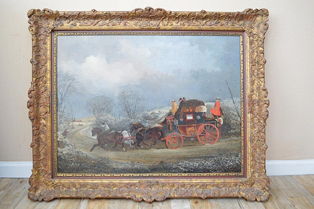 Antique English coaching scene After Henderson. Oil on