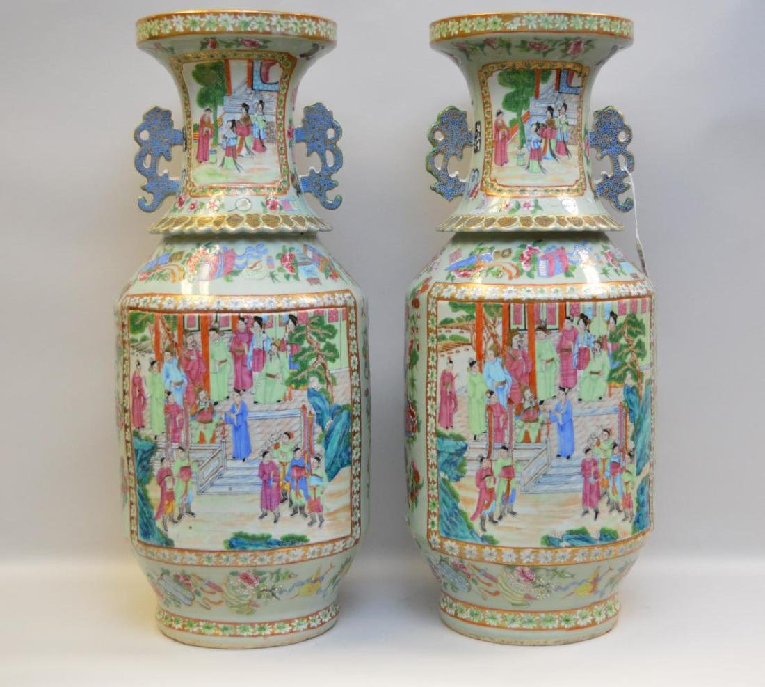 Pair Antique Chinese Porcelain Vases with hand painted