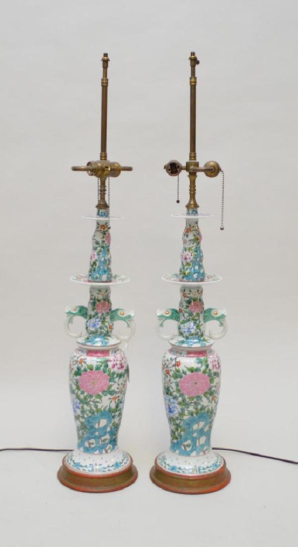 Pair Chinese Porcelain Candlesticks now electrified and