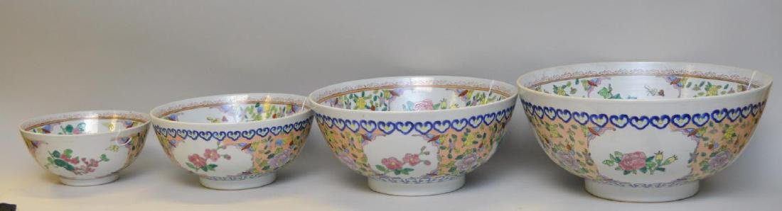 4 Chinese Porcelain Graduated Bowls with bird,