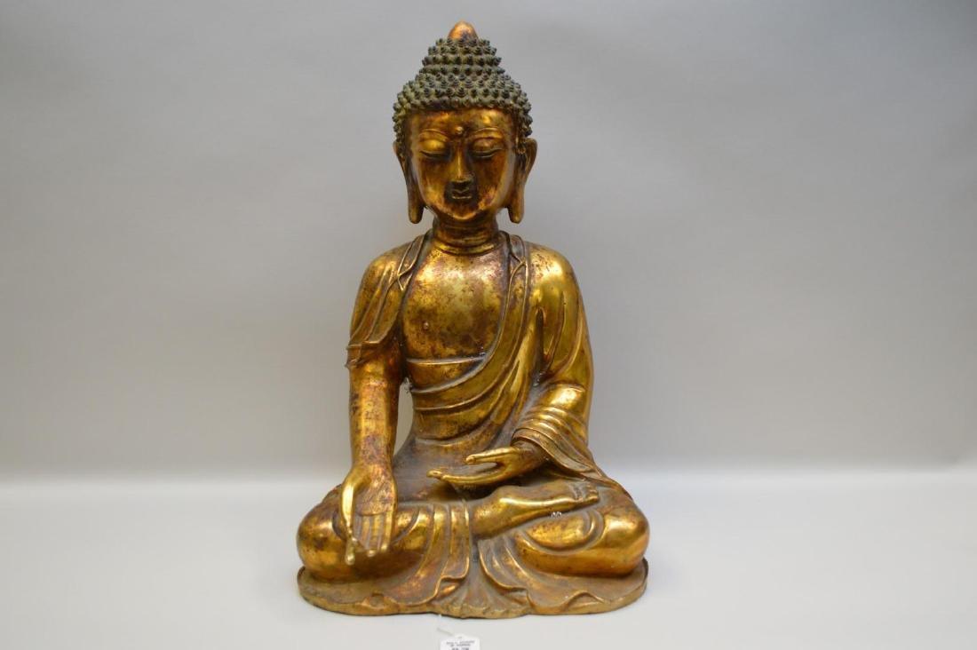 Sino-Tibetan Gilded Bronze Verada Mudra Buddha -