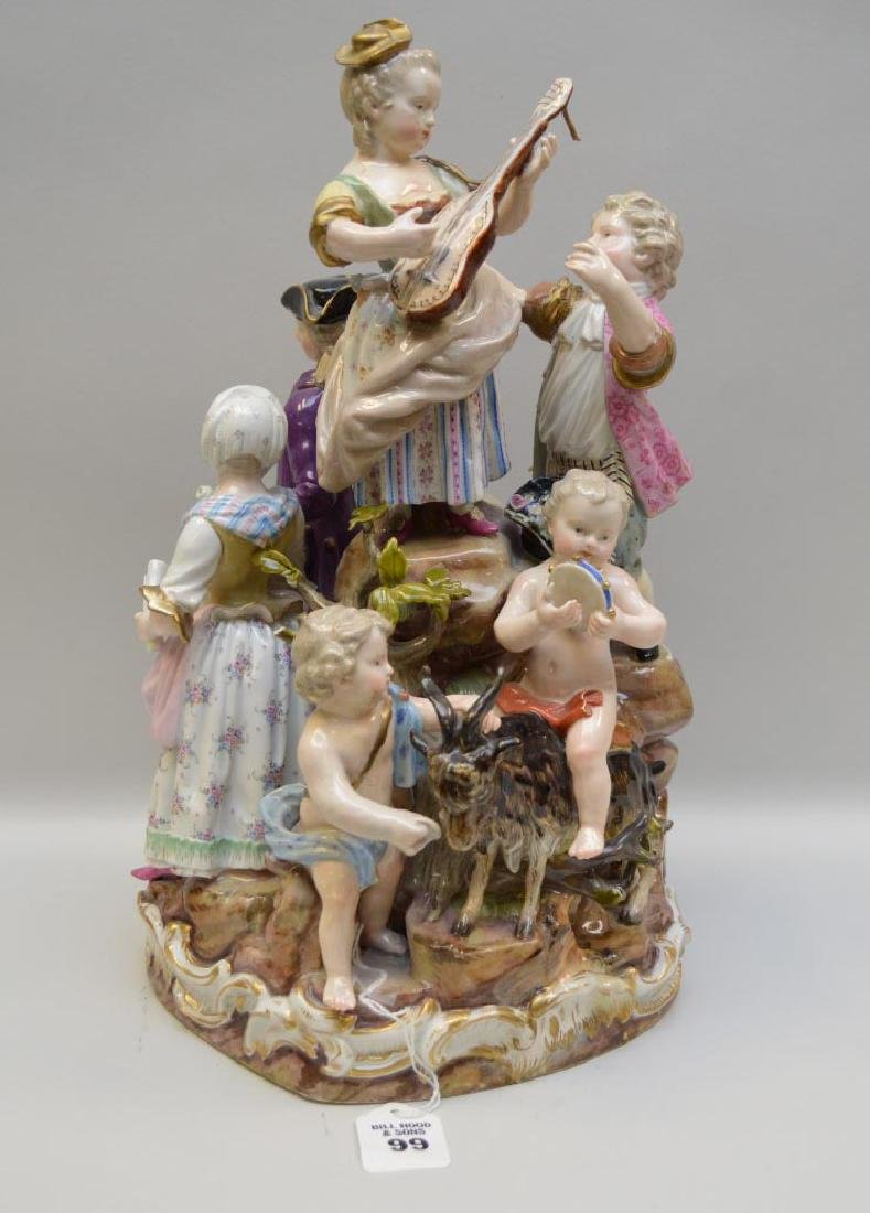 Antique Meissen Porcelain Figural Group of Musicians &