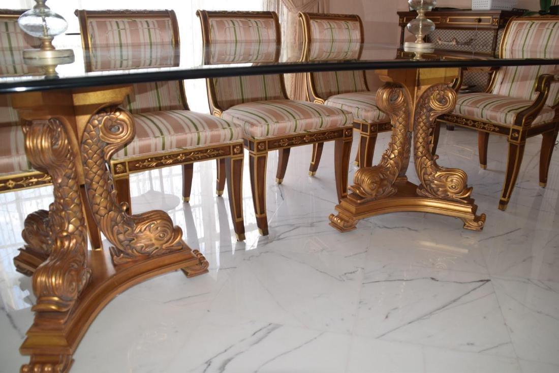 "Karges Regency-Style Gold Leaf ""Dolphin"" Table"