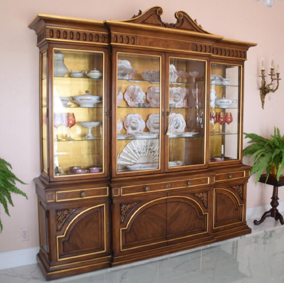 """Karges """"Louis XVI"""" Mahogany & Gilt Wood Breakfront with"""