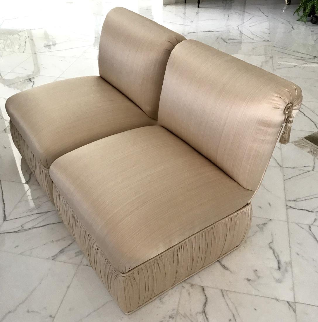 Pair of Upholstered Silk Chairs Condition: Good, with