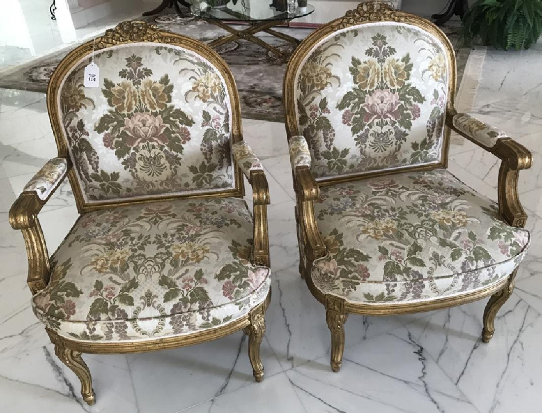 Pair of French Carved Gilt Wood & Upholstered Arm