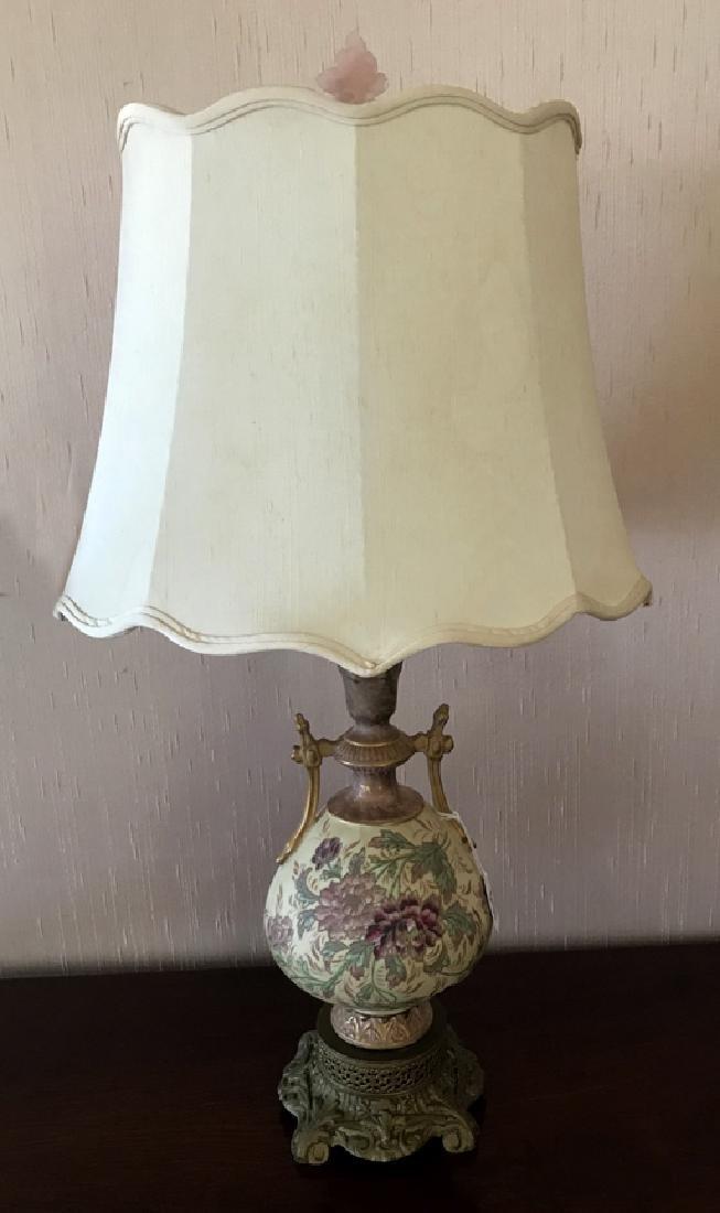 Austrian Porcelain Vase Floral Motif Lamp, now