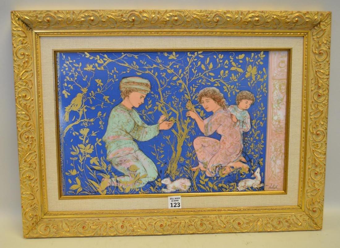Edna Hibel Framed Porcelain Plaque with three Children