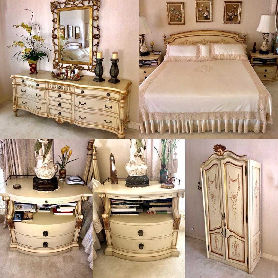 5 Piece Karges Custom Georgian Bedroom Suite. Includes: