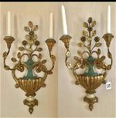 Pair of Italian Carved Gilt Wood and Metal TwoLight