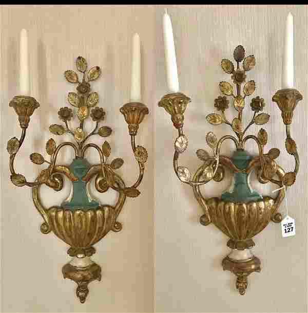 Pair of Italian Carved Gilt Wood and Metal Two-Light