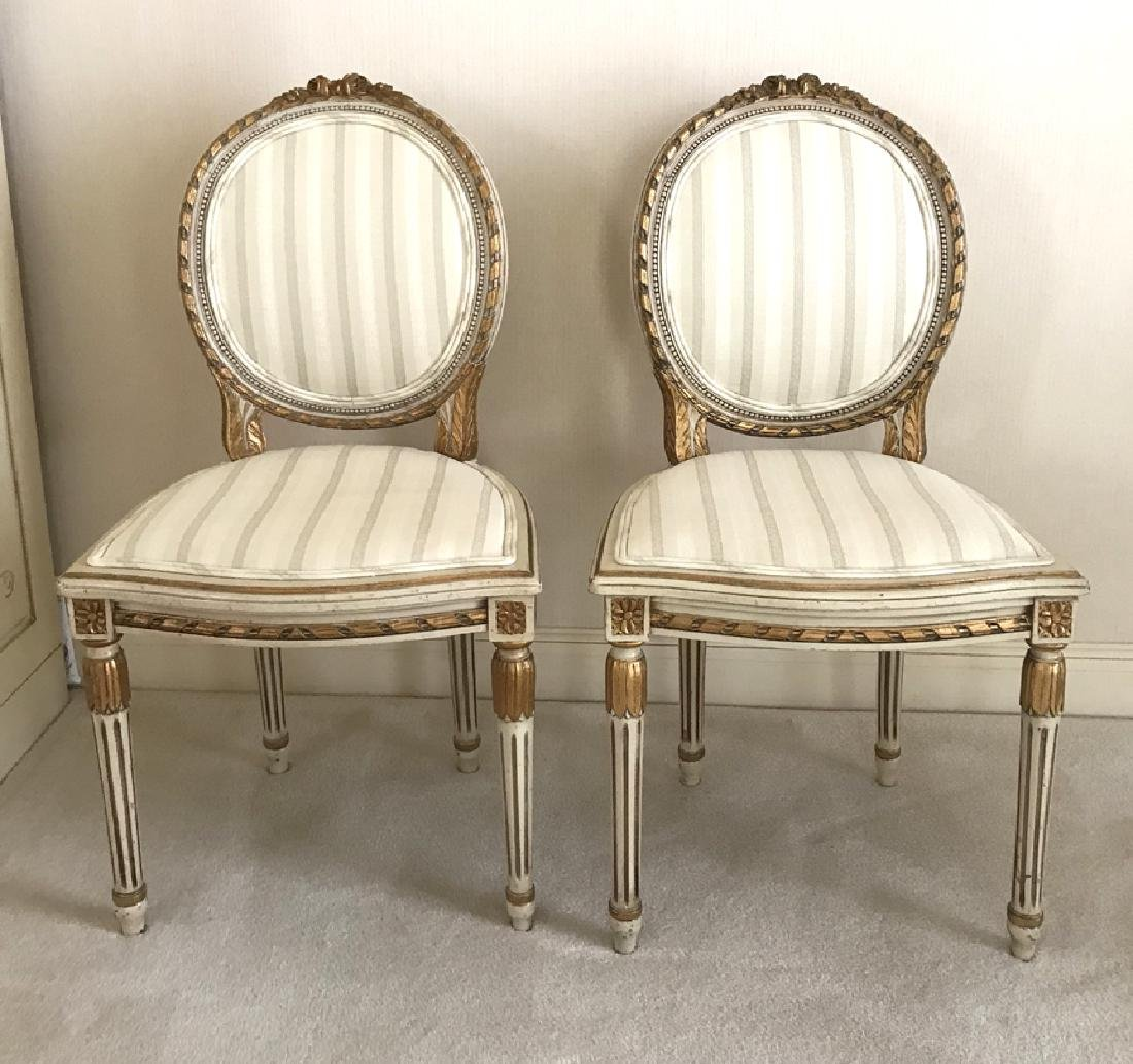 Pair of French Carved Painted & Gilded Side Chairs
