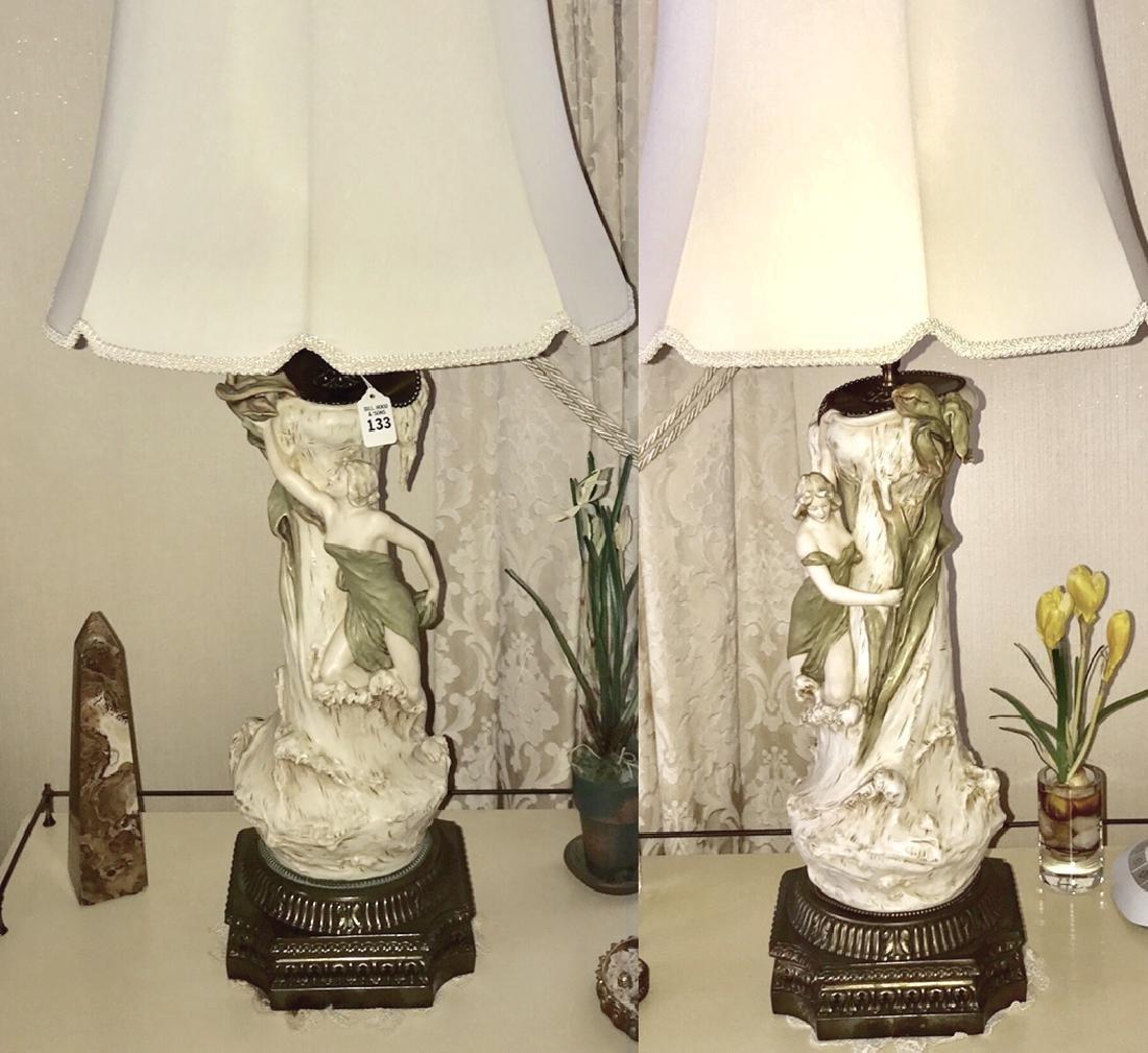 Pair of Royal Dux Art Nouveau-Form Nymph Porcelain
