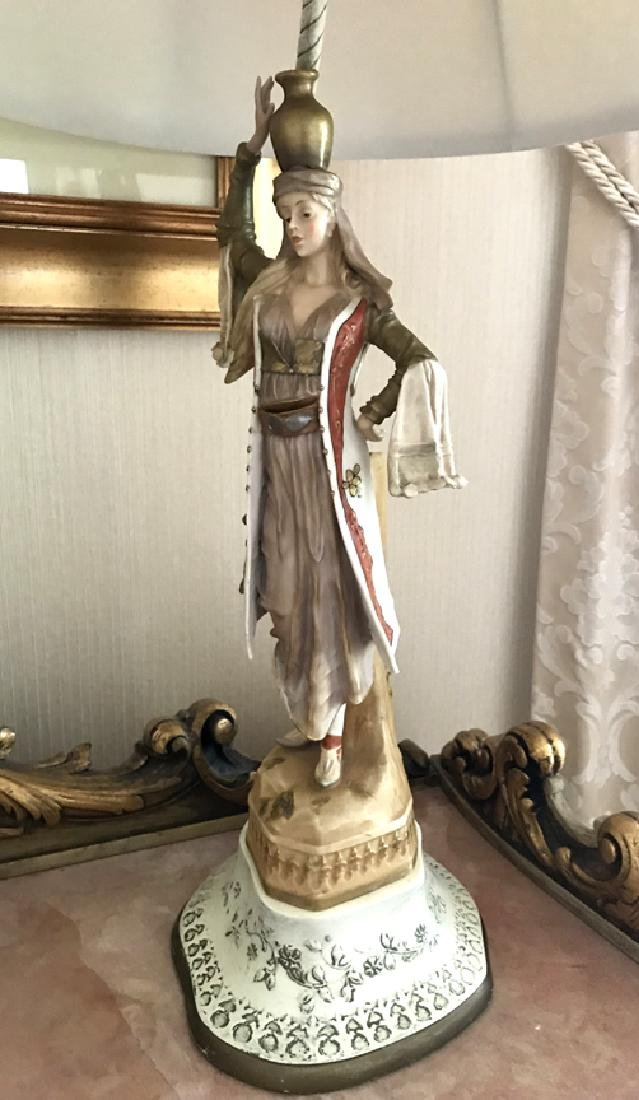 Porcelain Figure of Maiden with Water Jug Lamp