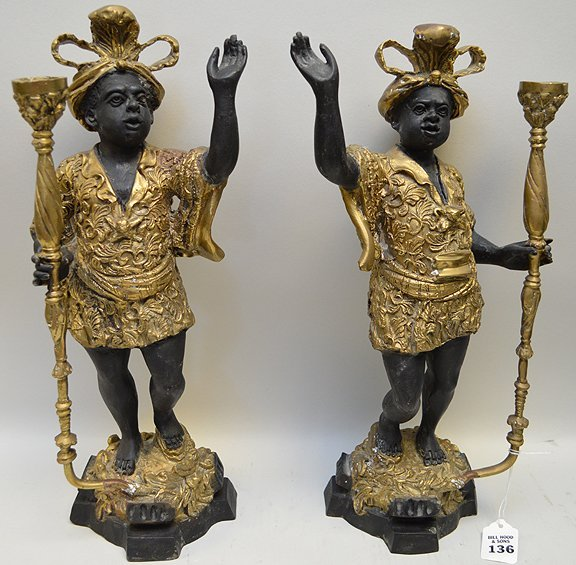 Pair of Patinated & Gilt Bronze Blackamoor Candle