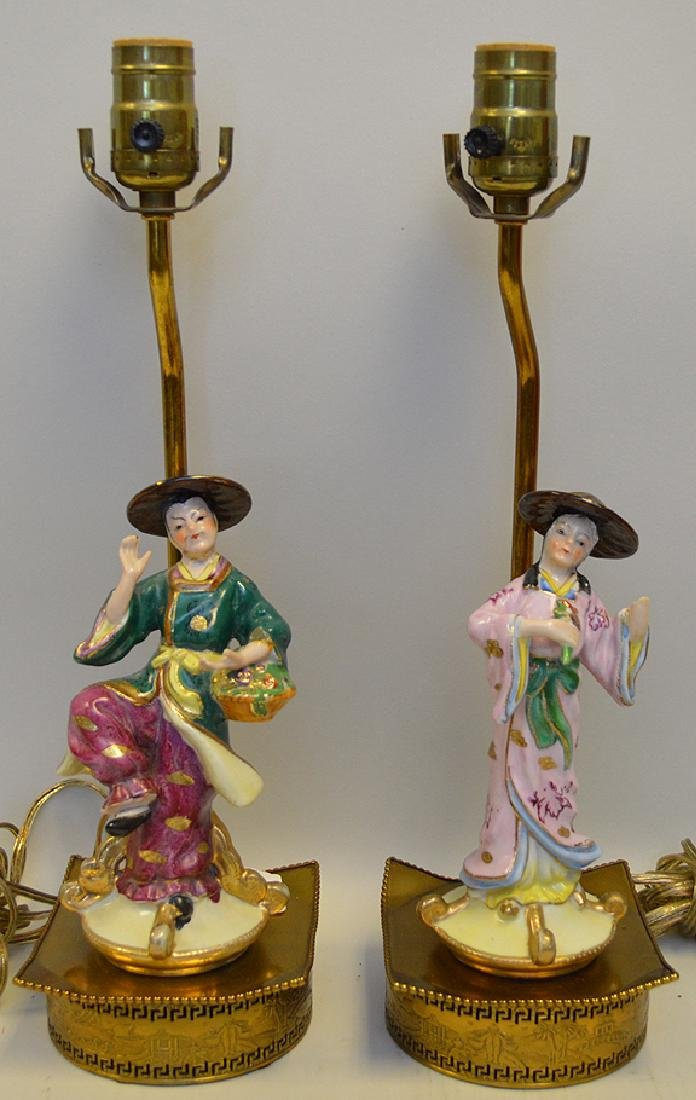 Pair of French Porcelain Chinoiserie Figure Lamps,