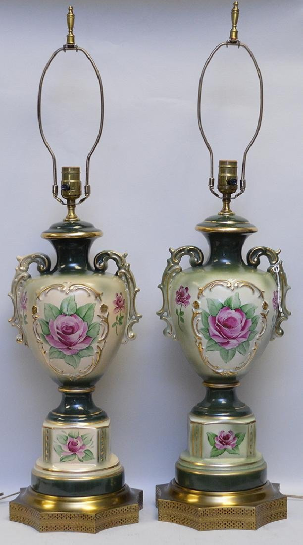 Pair of Bavarian Porcelain Lamps, green and cream urn