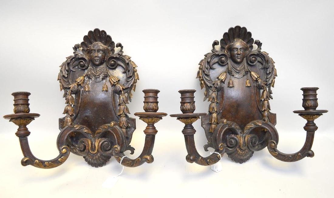Pair of Regency Carved Wood Two-Light Sconces, features