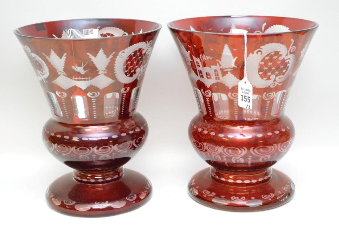 Pair of Egermann Cranberry Cut-to-Clear Glass Vases