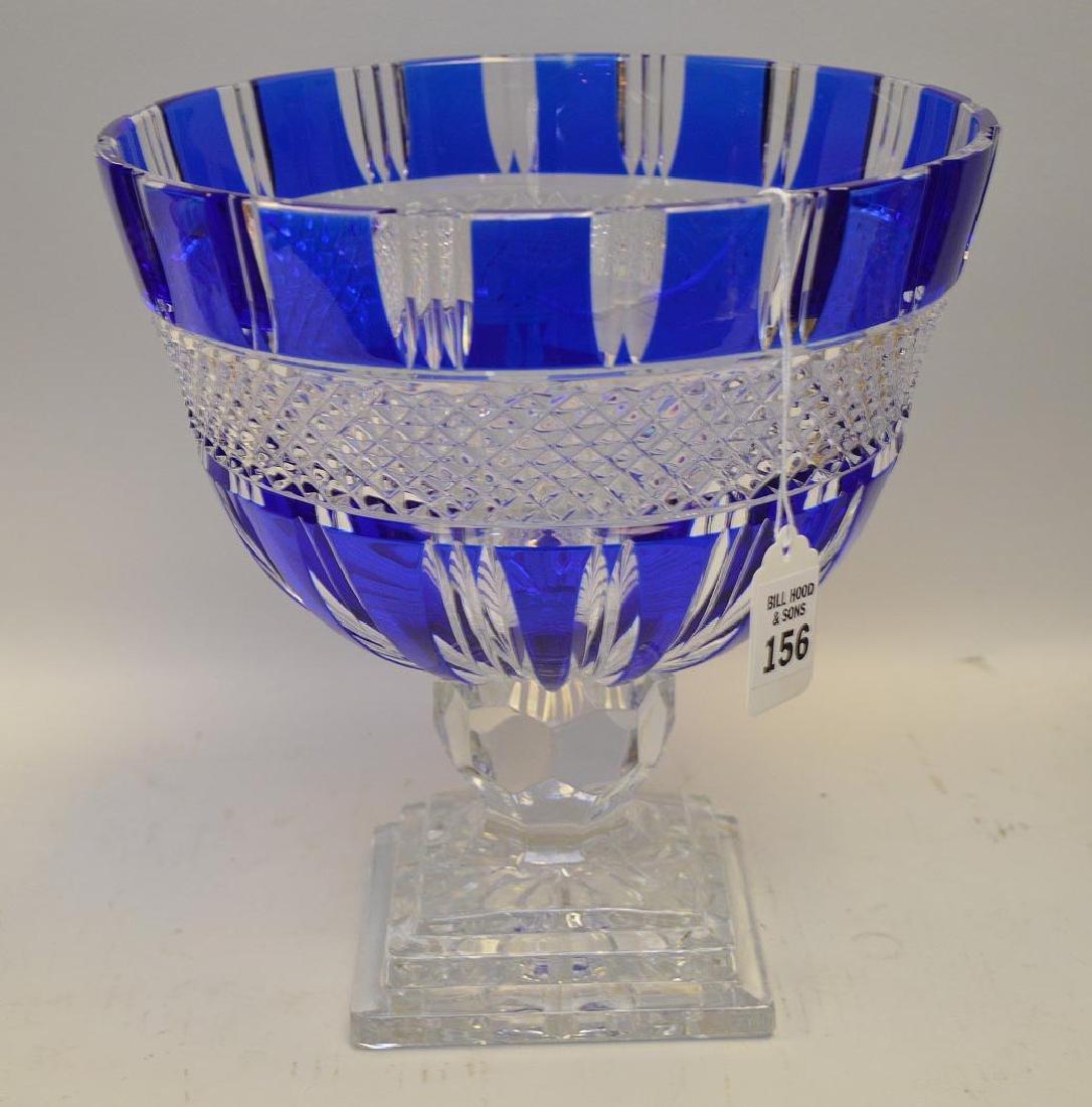 Cobalt Blue Cut-to-Clear Glass Center Bowl - Bowl sits