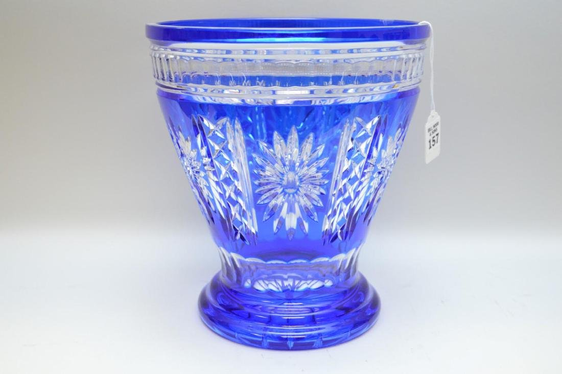 Cobalt Blue Cut-to-Clear Glass Vase - Condition: Good,