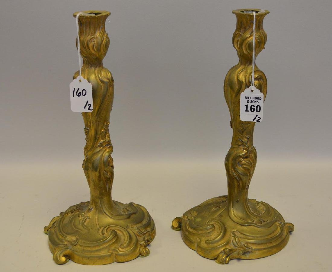 Pair of Antique French Gilt Bronze Candlesticks -