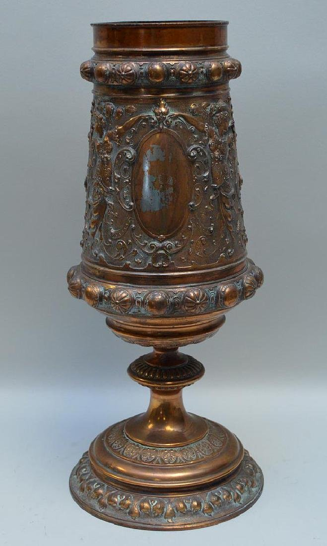 Ornate Copper Gilt Display Urn with Classical Imagery -