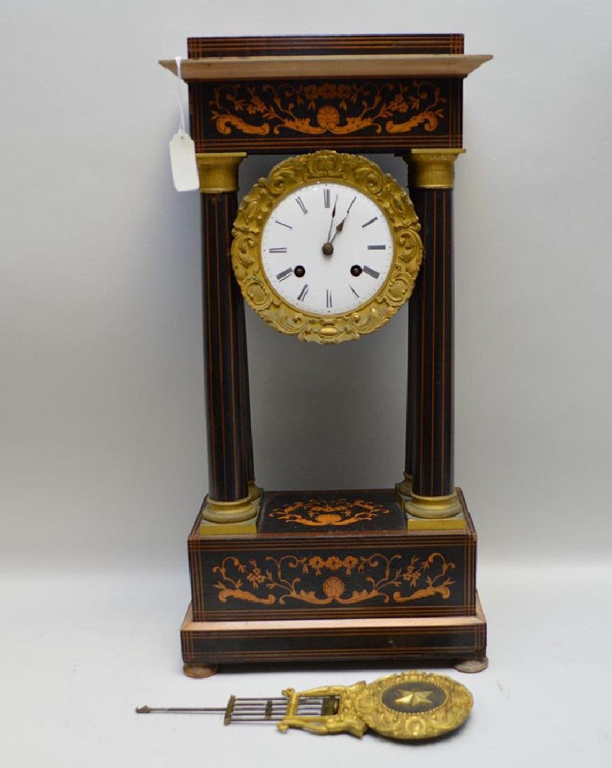 Antique Gilt Metal & Inlaid Wood Portico Clock, with