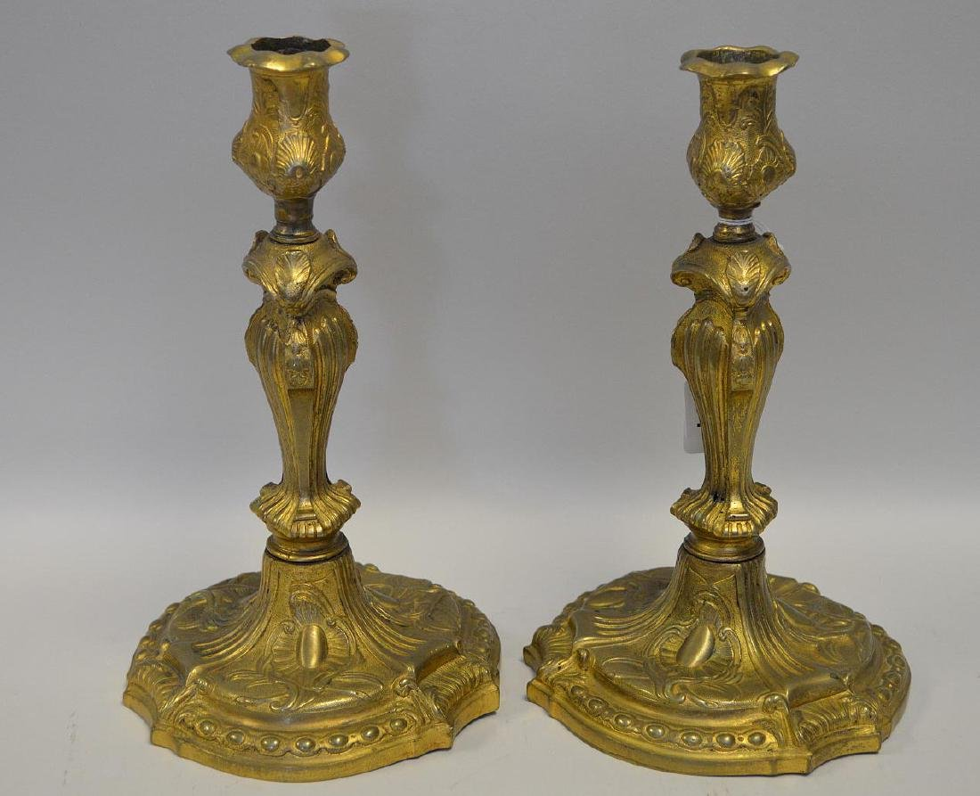 Pair 19th Century Gilt Bronze Candlesticks with scroll