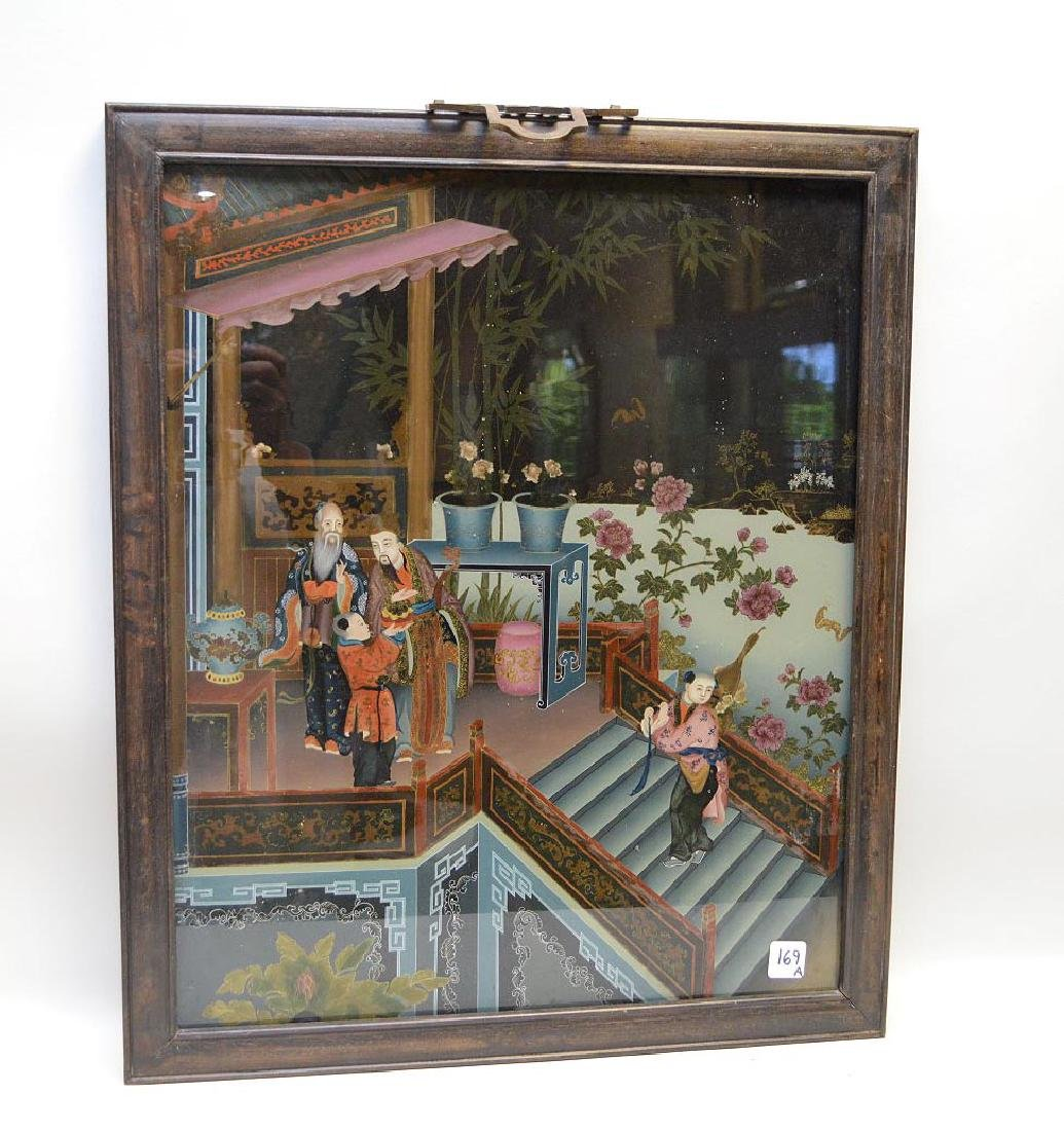 Chinese Reverse Painting On Glass depicting a child