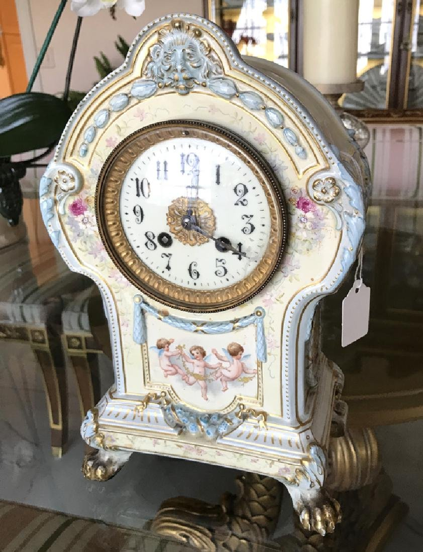 German Royal Bonn Porcelain Mantle Clock with Time &